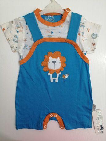 Детский костюм (футболочка и комбинезон). Размер 62 и 68