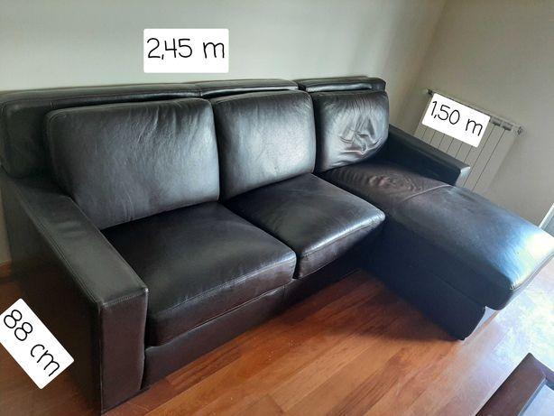 Sofá c/ Longue Chaise em pele