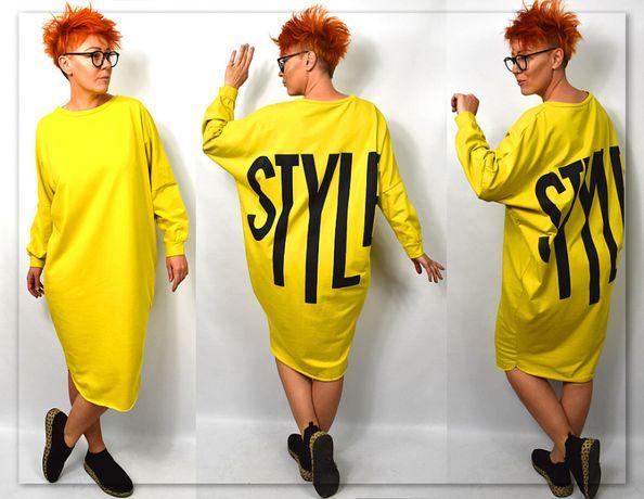 Włoska sukienka dresowa oversize super styl L XL Najnowasza Kolekcja