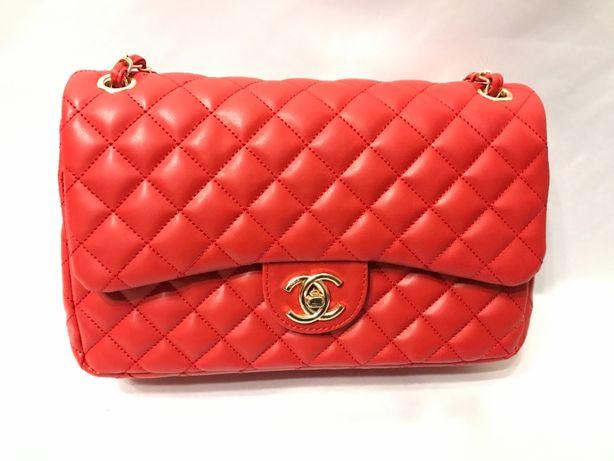 Chanel chanelka torebka torba pikowana czerwona
