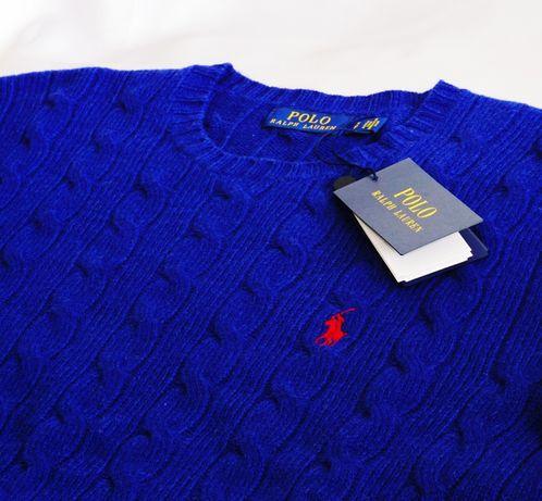 Polo Ralph Lauren XXL sweter merino kaszmirowy niebieski indygo gucci