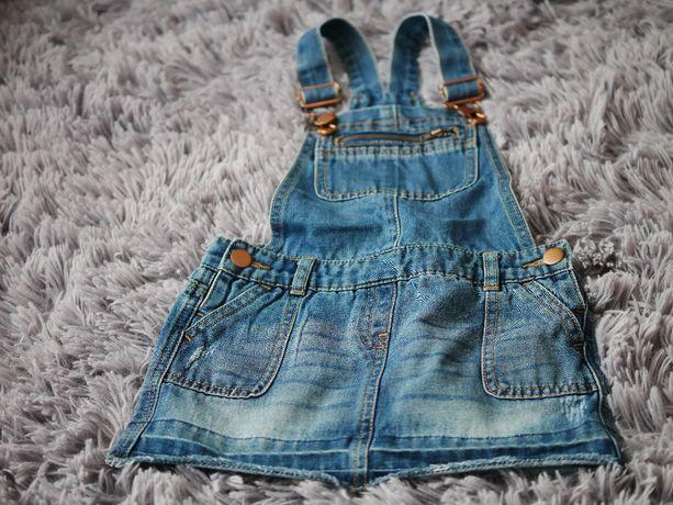Sukieneczka jeansowa sukienka na szelki ogrodniczka 104