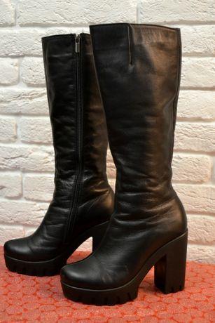 Зимние сапоги черные на каблуке 39 размер