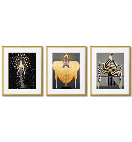 Erte, Plakaty Art Deco ,złoto, Antracyt, Szary