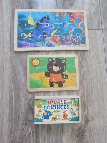 puzzle drewniane i domino drewniane
