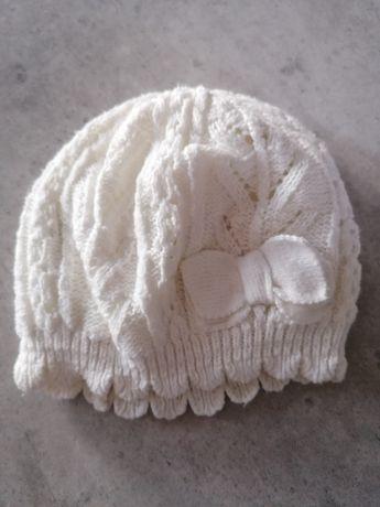 Czapka czapeczka dla dziewczynki h&m kremowa 62/68