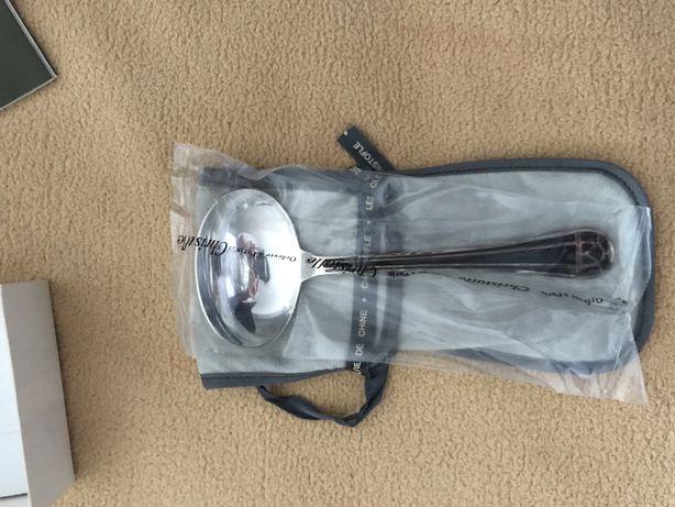 Christofle Talisman Silverplated black lacquer colher de molho