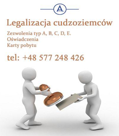 Legalizacja cudzoziemców, zezwolenia typ A,B,C,D,E