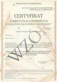 Certyfikat Kompetencji Zawodowych przewóz rzeczy i osób