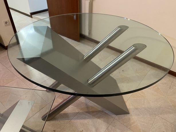 Conjunto de mesas de sala em vidro e inox