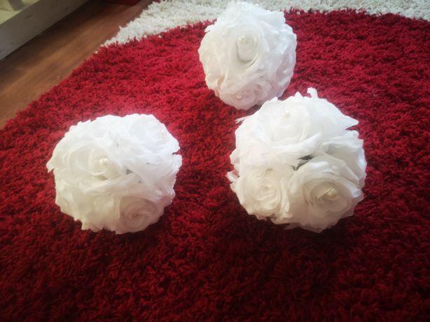 Kule kwiatowe białe śliczne nowe tanio