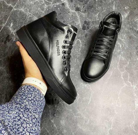 Кожаные зимние ботинки на меху Tommy hilfiger