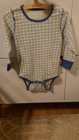 Bebe 86 nowe body bawełna organiczna serca biały niebieski