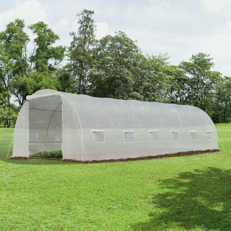 Estufa de jardim Tipo túnel 12 janelas  Aço e PE 800x300x200 cm Branco