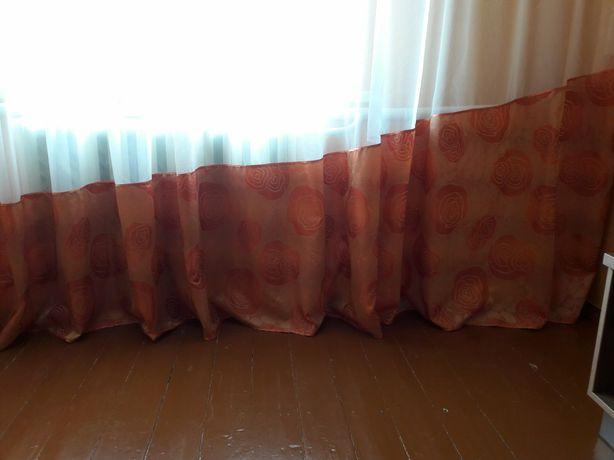 Тюль / штора оранжевая