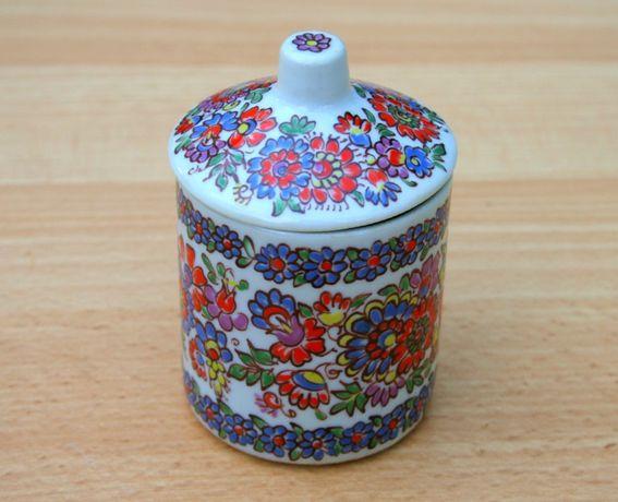 Piękne pamiątki czasów PRL. Ceramiczne, malowane naczynie (pojemnik)