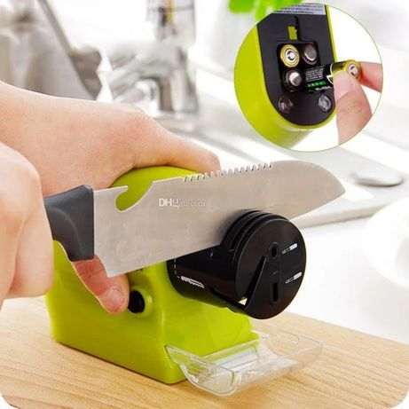 Точилка для ножей и ножниц электрическая на батарейках точильный диск