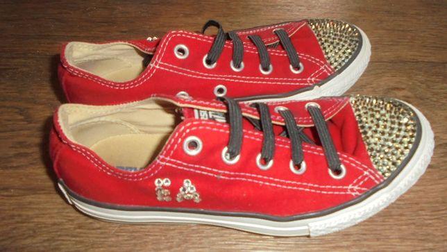 Красные кеды Converse all star оригинал со сваровски на резинках круты