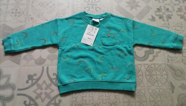 Śliczna turkusowa bluza ZARA rozmiar 80 NOWA Z METKAMI