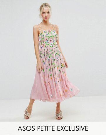 Сказочное платье с вышивкой и 3д цветами Asos exclusive