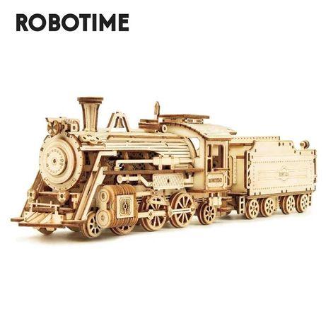 Деревянная модель, конструктор, 3D-пазл - Паровоз с вагоном Robotime