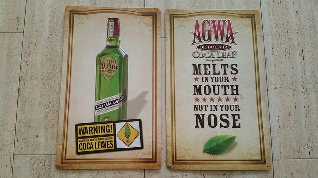 2 Placas metal decorativas AGWA de Bolívia - Raro - Ideal para Bar