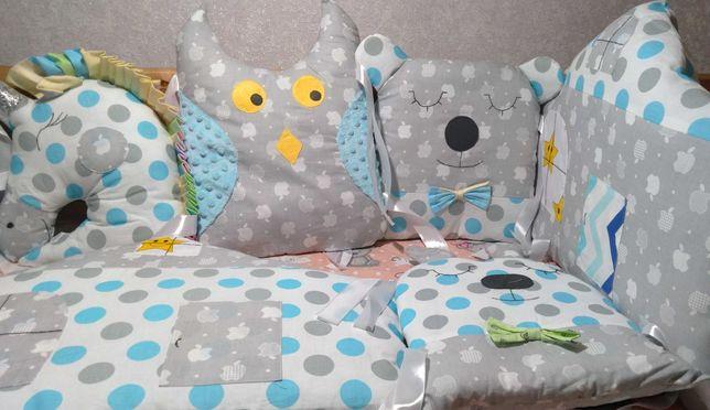 Защитные бортики Зверюшки н 4 стороны кроватки. Стиль и качество.