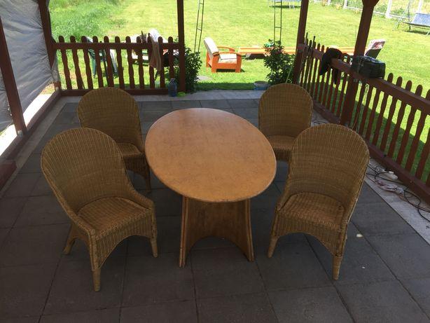 Stół +4 krzesła ogrodowe z rattanu
