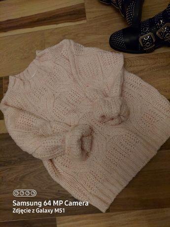 Nowy Jasnoróżowy sweter splot w warkocze Zara 134cm