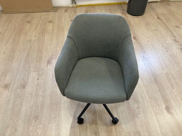 Krzesło obrotowe fotel - vintage szare, nowe obicie