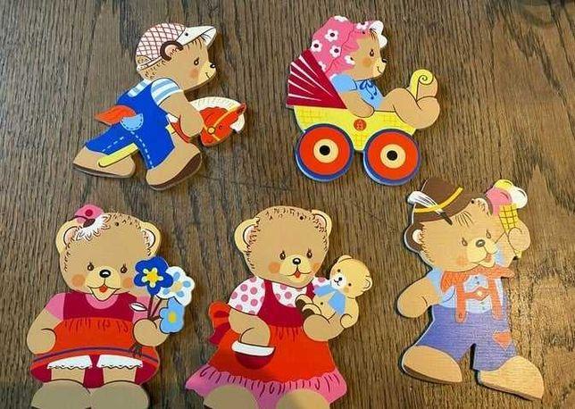 5 drewnianych malowanych misków -BDB