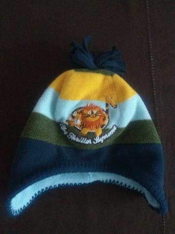 Двойная флисовая шапка на мальчика зимняя