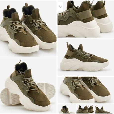 Nowe buty khaki 37 adidasy platforma Reserved sneakersy