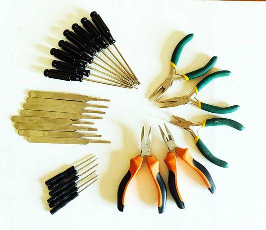 Conjunto de alicates, chaves e pinças ideais para modelismo/bricolage