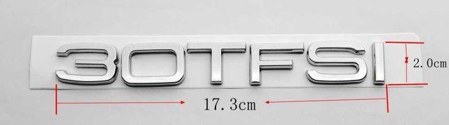 NOWY znaczek 30 TFSI srebrny przyklejany chrom klejany do AUDI
