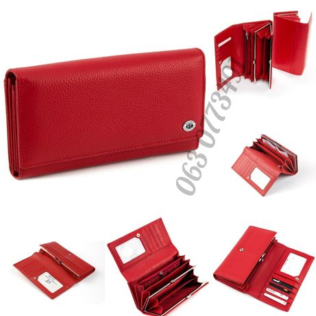 Женский кожаный кошелёк клатч портмоне на кнопке ST Leather