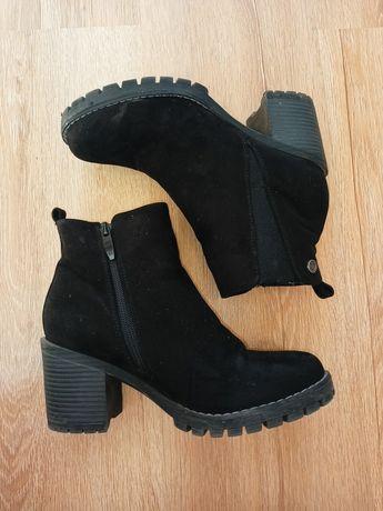 Czarne buty botki wysokie na słupku zamszowe rozsuwane 38