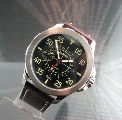 Zegarek PARNIS GMT Stal, automatic ,data, incabloc, 44mm ..Japan