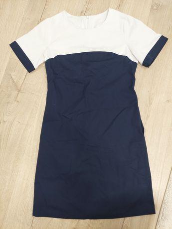 Sukienka r 36 Hansa granatowa biała odzież medyczna