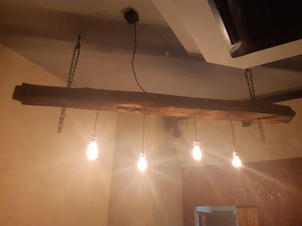 Lampa, żyrandol ze 100- letniej belki drewnianej loft industrialna