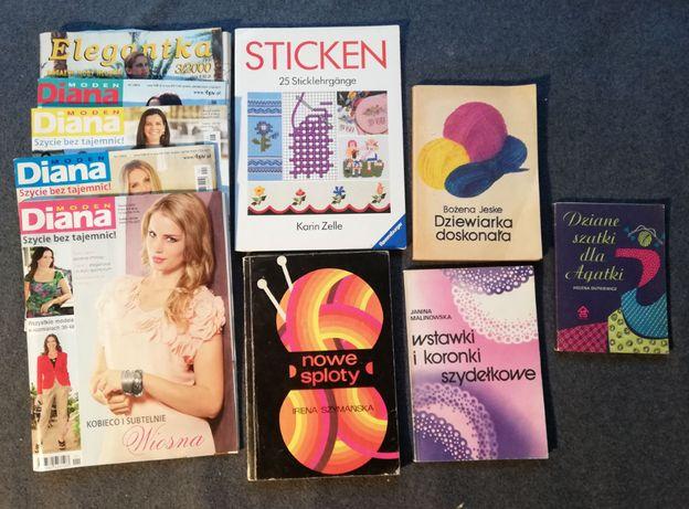 Zestaw książek-dziewiarstwo,hafty-5 książek+gazety.