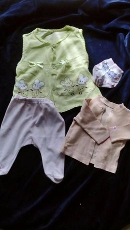 sukienka, spodnie, kaftanik i skarpetki