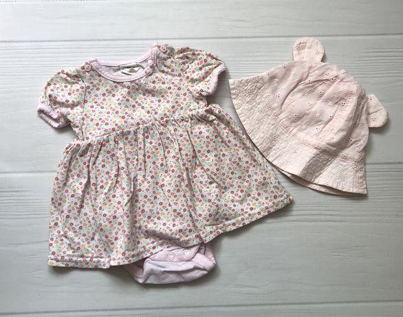 Платье-боди и панамка(комплект). Сарафан на девочку 1-3мес H&M