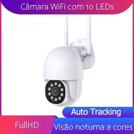 Câmara Rotativa 360º*WiFi*Visão Noturna a cores*Deteção de movimento