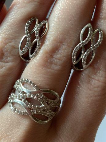 Серебряные серьги / серебряный набор / серебряное кольцо / серебро