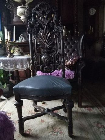 Krzesło antyk skórzana tapicerka na sprężynach, ręcznie rzeźbione dąb