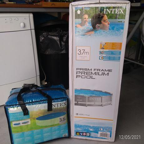 Piscina Intex Nova 3.7m com Cobertura de aquecimento solar