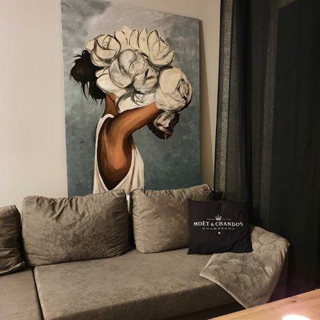 Obraz 140 x 110 ręcznie malowany na płótnie Kwiaty we włosach