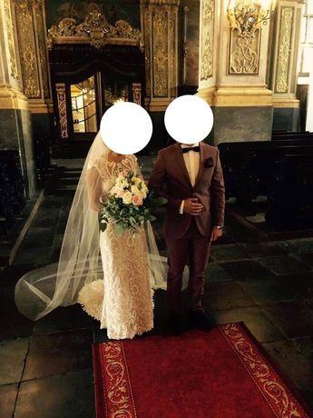 Suknia ślubna IGAR 1805 34/36 z trenem + welony