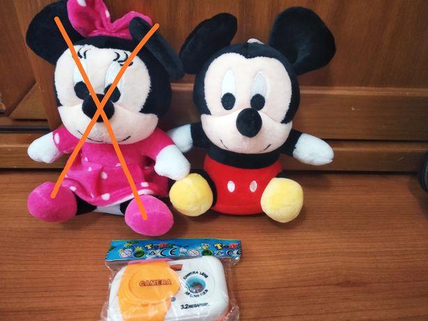Peluches mickey + camara animais de brincar